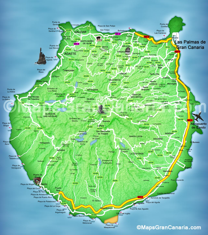 Gran Canaria Karte Flughafen.Maps Gran Canaria Gran Canaria Karte